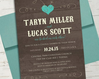 Hooked on Each Other Turquoise Fishing Bridal Shower or Couples Shower Invitation