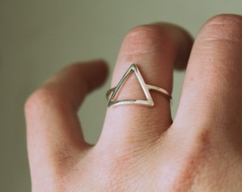 Triangle Ring//Sterling Silver//Handcrafted//Minimalist Jewelry