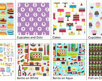 Food Fabrics for Reusable Sandwich or Snack Bags with Zipper Closure