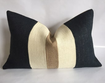 Black, Cream and Natural Burlap Lumbar Pillow Cover