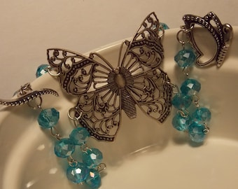 Blue and Silver Beaded Butterfly Bracelet