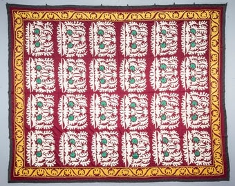 100 x 120 Vintage Suzani Old Embroidery Suzani Wall Hanging Uzbek Suzani Table Cover Ethnic Suzani FAST SHIPMENT with ups - suzani-083