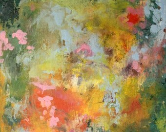 Summer Garden-- Abstract Painting-- Art in frame