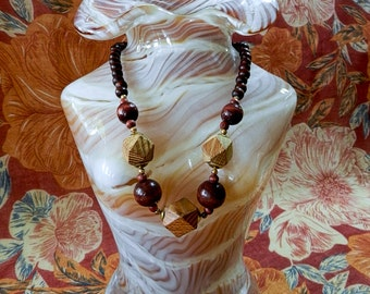 Collier bille de bois / Wood bead necklace