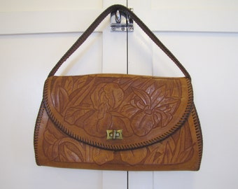 1960's Tooled Leather Purse, Purse, Leather, Tooled, 1950's, 1960's, Brown, Handbag, Pocketbook, Boho, Hippie, Bohemian