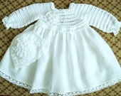 Linen crochet christening dress, hat with flower and shoes  for the baby girl and toddlers any size