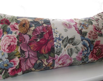 Feather bolster 24 x 12 home bedroom cushion bolster pillow in beautiful patchwork floral vintage granny chic barkcloth pink blue purple