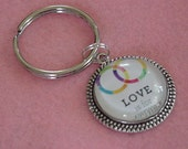 LGBT Gay Pride Rainbow Love For Everyone Wedding Rings Keychain Key Ring FREE SHIPPING
