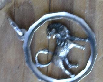 Unusual rare art deco sterling silver lion fob pendant / RSKLPP