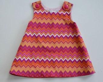 Toddler or girl A-line dress, toddler jumper, chevron stripes, party dress, back-to-preschool jumper, girl's lined dress, sizes 1T - 5,