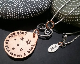 D2E hand stamped mixed metal necklace love you to the moon and back