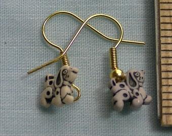 tiny grey dog earrings