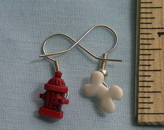 Bone and red hydrant earrings