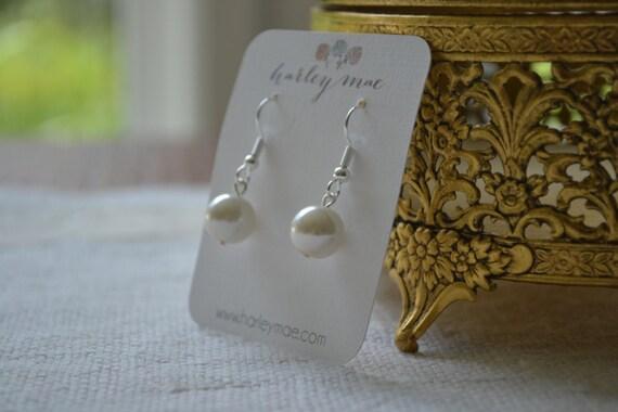 Vivian: Single Ivory Pearl Drop on Hook Earrings - gray, white, or pink