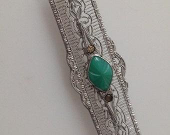 Sale~1920s Vintage Art Deco FILIGREE Brooch Bar Pin Molded Glass Chromium Plate
