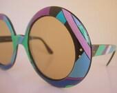 Emilio Pucci Frames Huge Retro Groovy Mod Psychedelic Round Bug Eye Oversized Geometric  Purple Blue Green France Vintage Eyeglasses 60s 70s