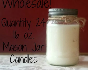 24 Pack Candles, 16 oz. Mason Jars, Wholesale