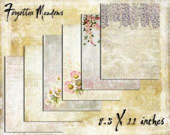 Digital Paper Pack Forgotten Meadows 8.5x11, downloadable printables