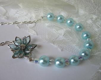 Aqua Bridesmaid Necklace Flower Rhinestone Wedding Maid of Honor
