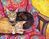 Two Cat Nap feline pet lovers art bold red yellow giclee print choose your size Peggy Johnson
