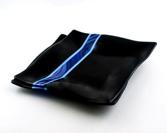 Unique Dinnerware, Black Minimalist, Fused Glass Dinner Plates, Two Piece Set, Black and Blue, Modern Dinnerware, Wedding Gifts for Couple