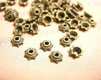 50PC 5mm antique bronze finish metal bead caps-7117F