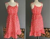 70s Red Cotton Sun Dress with Tie Straps Medium