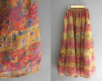 70s Sheer Indian Gauze Maxi Skirt