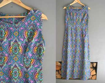 60s Printed Cotton Crepe Maxi Dress