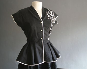 1950s Fitted Peplum Blouse with Ribbonwork