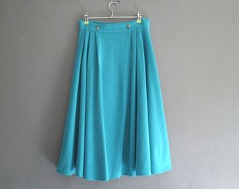 """80s does 50s Circle Midi Skirt Turquoise 30"""""""