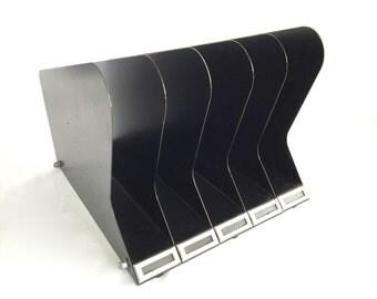 MId Century Industrial Metal Desktop Vertical FIle 5 slot