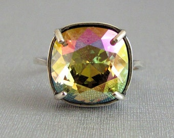 Purple Haze Swarovski Crystal Ring Adjustable Silver Square Cushion