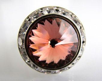 Vintage Rose Peach Swarovski Crystal Ring Adjustable Silver Halo