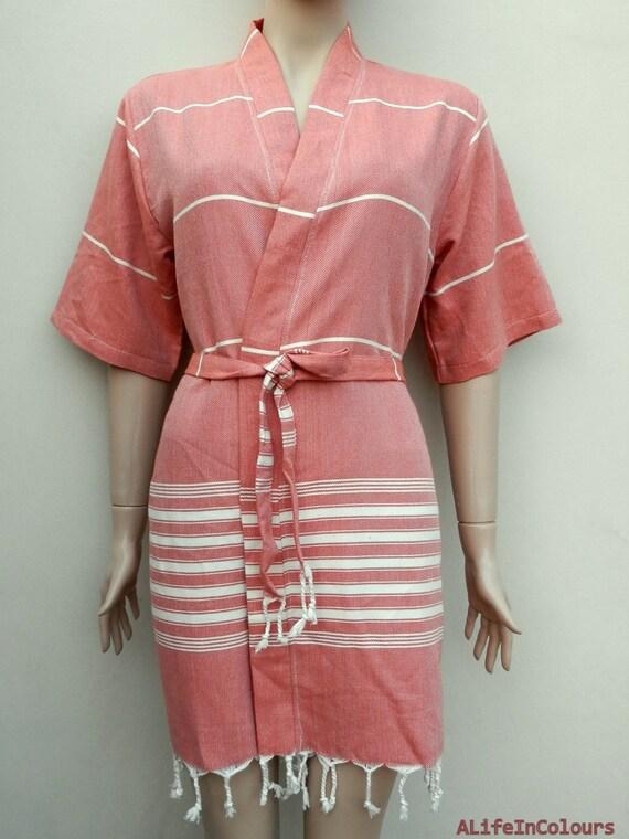 peignoir de kimono manches courtes en coton doux de la. Black Bedroom Furniture Sets. Home Design Ideas