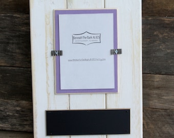 Picture Frame with Chalkboard - Holds a 5x7 Vertical Photo - Distressed Wood - White & Lavender with a Black Chalkboard