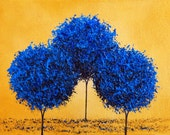 Abstract Painting Art Print, Blue Trees Contemporary Gold Canvas Art, Giclee Print of Miniature Painting, Original Oil Painting Print