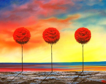 Three Red Trees Art Print, Abstract Painting of Whimsical Trees and Sunset Sky Landscape, Contemporary Modern Home Decor, 5x7, 9x12, 11x14