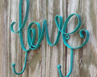 "LOVE Wall Hooks  - 12"" Long Coastal Green Indoor/Outdoor Decor - Patio"