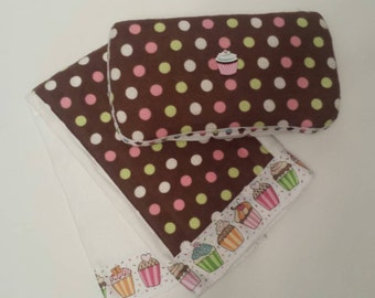 CLEARANCE! Reg 18.00 Ready to Ship Brown, Pink, Green, and White Polka Dot Cupcake Travel Wipes Case and Gerber Burp Cloth Gift Set