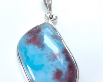 Sterling Silver Genuine Turquoise Stone Pendant Vibrant Turquoise Silver Pendant Blue Turquoise Silver Pendant