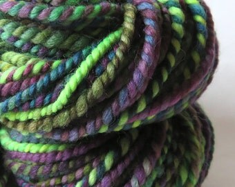 Handspun Yarn, Art Yarn, 2 Ply, Bulky, Barberpole, Wool, Knit, Doll Hair, Faerie Wood