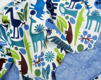READY TO SHIP - Zoo in Blues Baby Blanket, Many Sizes with Minky of Choice