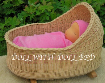 """Waldorf baby doll, 14"""" heavy Baby, Millet baby, plus DOLL BED"""