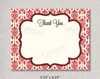 Damask Thank You Note INSTANT DOWNLOAD d.i.y. Printable PDF