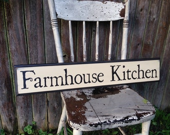 Farmhouse Kitchen Wooden Sign with Decorative Routed Edge 5.5x30