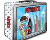 Super Captain Classic Tin Lunch Box with or without Side Wrap | Back To School | Personalized | Image on Both Sides | Keepsake Box