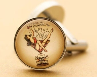 Sailor Jerry Cufflinks - Stainless Steel Mens Nautical Martini Girl Cuff Links Vintage Rockabilly Silver