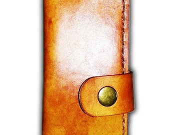Handmade Leather Unique iPhone 5 Mobile Cell Phone Case Cover / Book Style