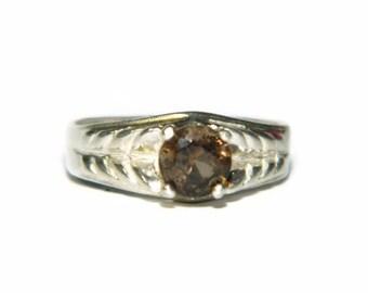 Smoky Quartz Ring, Sterling Silver, Brown Gemstone